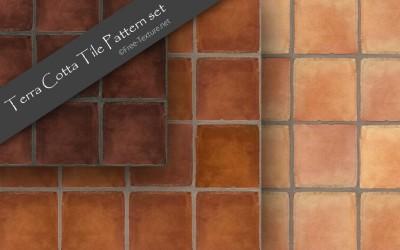 素焼きのナチュラルな質感!テラコッタタイルのシームレスパターン素材3色セット(PHOTO)