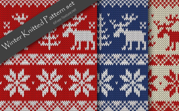 winter-knitted-pattern-set
