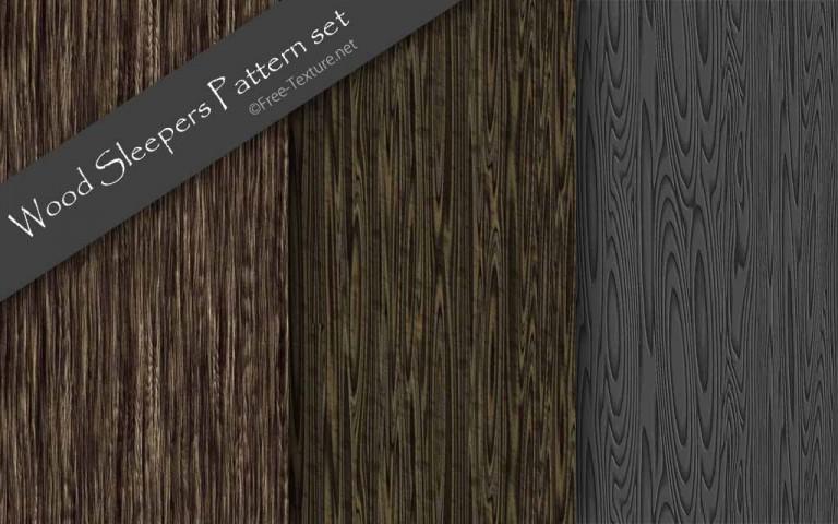 枕木風ウッドテクスチャ・3シームレスパターン素材(CG)