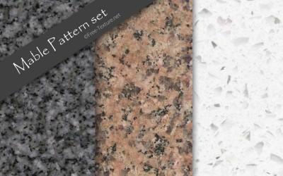 継ぎ目のない3色の大理石テクスチャ素材・パターンセット(PHOTO)